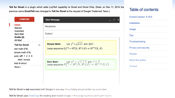 Tex for Gmail