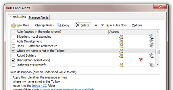Outlook Rules Example