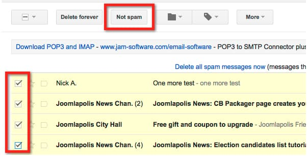 Mark as Not Spam in Gmail