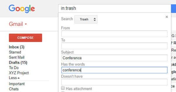 Gmail Search Filtering
