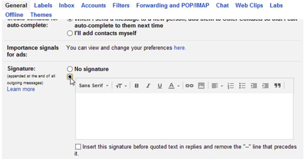 Adding a Signature in Gmail