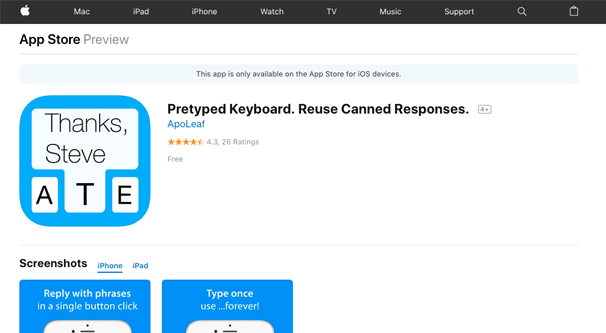 Pretyped Keyboard App
