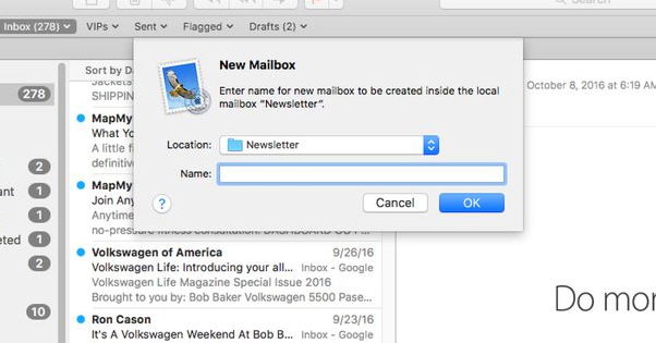 Creating Email Folders in Mac Mail
