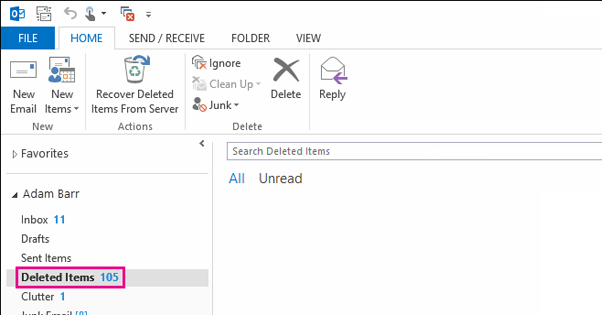 Deleted Folder on Outlook