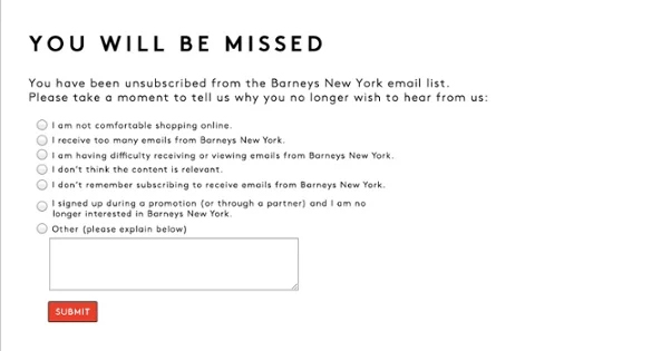 Unsubscribe Email Newsletter