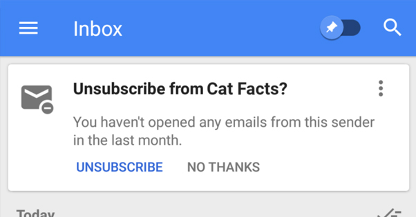Unsubscribing in Gmail