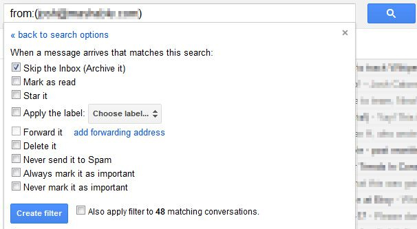 Filtering Gmail