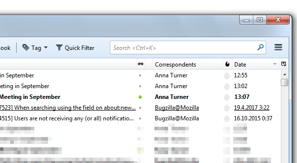 Outlook Sorting Correspondents
