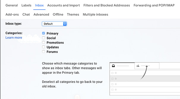Inbox Sorting Settings