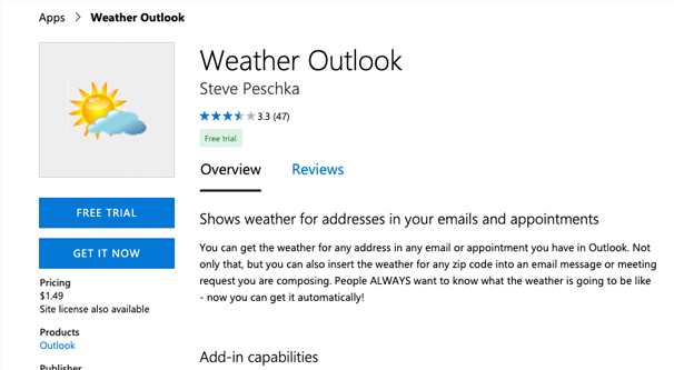 Weather for Outlook