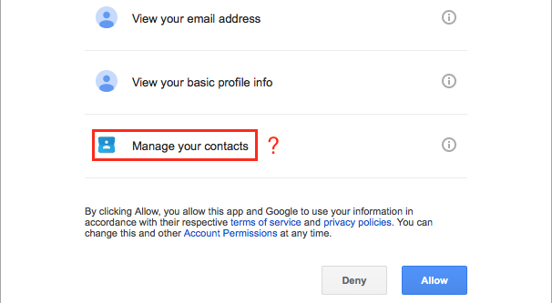 Allowing Permissions on Gmail