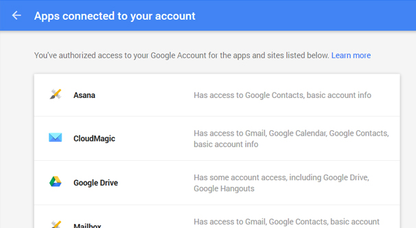 Gmail Apps Connected to Account