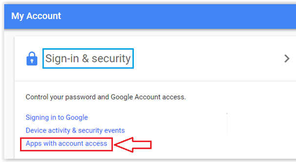 Less Secure Apps Setting Page